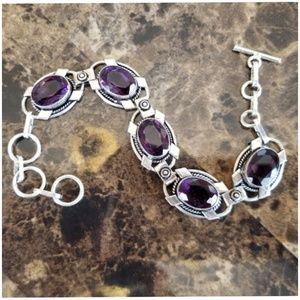 """Jewelry - Gorgeous Deep Purple Amethyst Bracelet 9"""""""